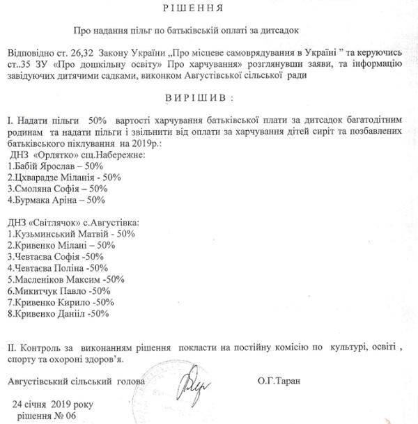 Оплата за хар. в ДНЗ пільги