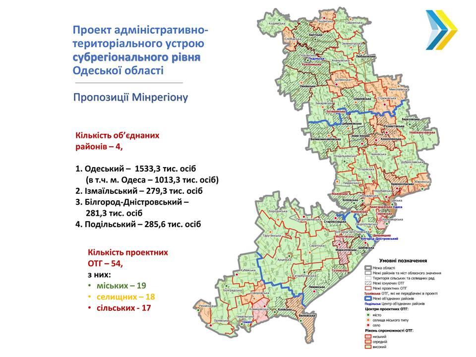 Мапа районів од. обл
